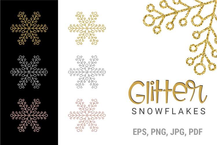 Glitter Snowflakes Bundle | Christmas | EPS PNG JPG example image 1