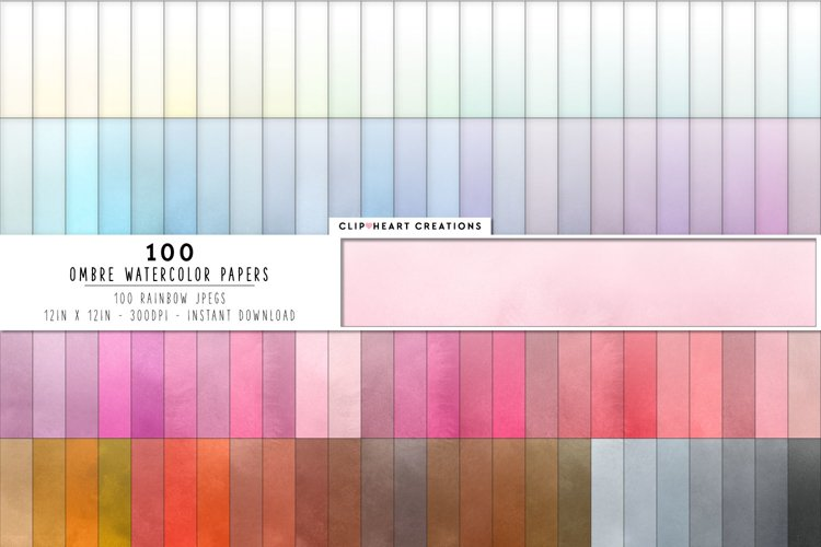 100 Watercolor Ombre Digital Papers in Rainbow Colors example image 1