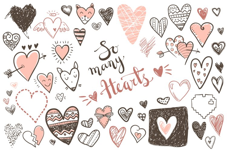 Vector doodle hearts, set example image 1
