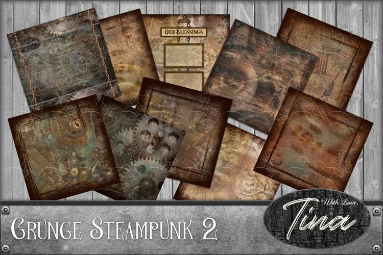60pc Set - Grunge Steampunk Digital Scrapbooking, Gears, Clocks, Tags, Frames, Cards, Manly, Men, Husband, Son, Cosplay
