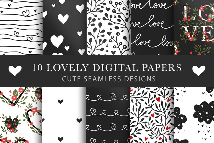Valentines Day Seamless Pattern Set. example image 1