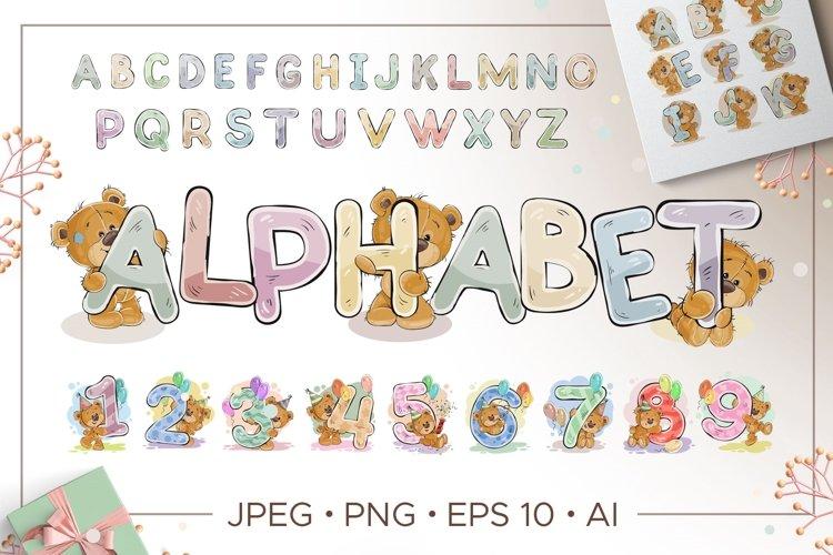 Kids alphabet with cartoon bear