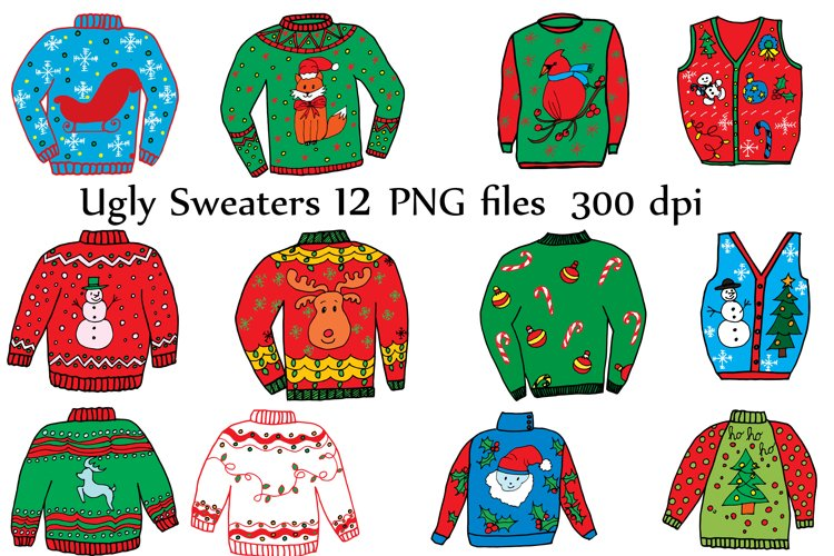 Ugly Christmas Sweater Clipart example image 1