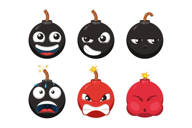 Cartoon character of funny bomb with different emotions. Vec example image 1