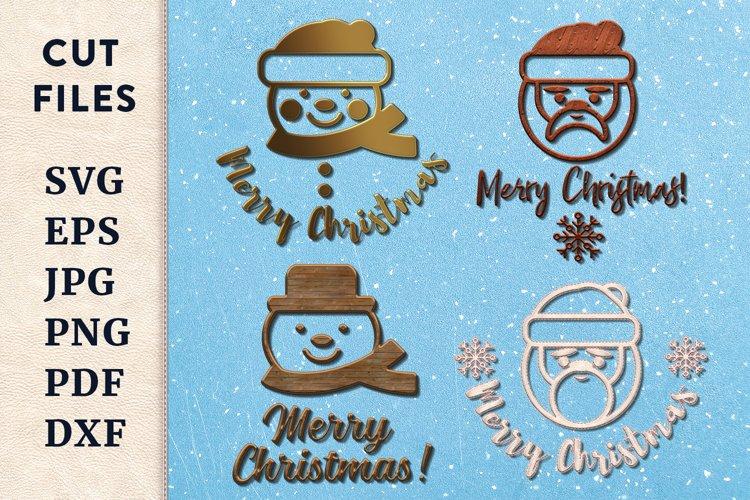Christmas cut files bundle. Santa Claus SVG. Snowman SVG.
