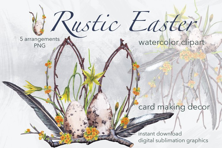 Easter watercolor rustic clipart Spring plants sublimations