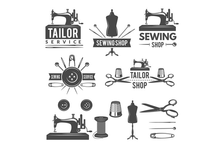 Vintage monochrome pictures and labels for tailor shop. Logo example image 1