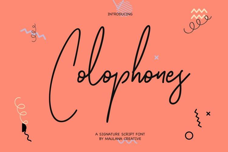 Colophones Signature Script Calligraphy Font example image 1