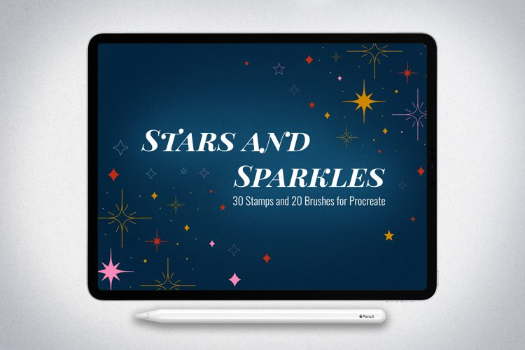 50 Stars and Sparkles Stamps and Brushes for Procreate example image 1