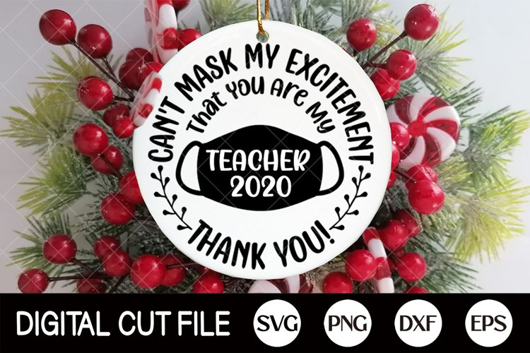 2020, Teacher Gift Ornament SVG, Christmas Ornament Svg, DXF example image 1