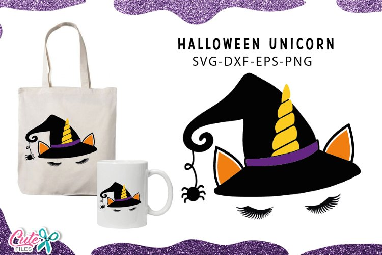 Unicorn witch Halloween svg cut files example image 1