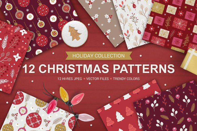 12 Christmas Seamless Patterns example image 1