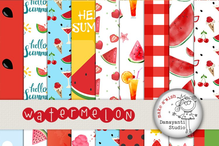 Watermelon digital papers, Picnic papers, Watermelon scrapbook papers, Red and green Watermelon Patterns, Printable papers, Planner sticker  example image 1