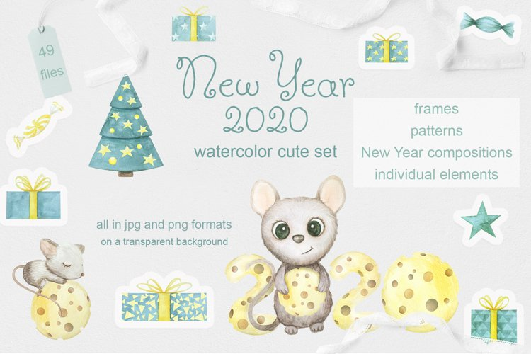 Mouse. New Year 2020. Watercolor set example image 1