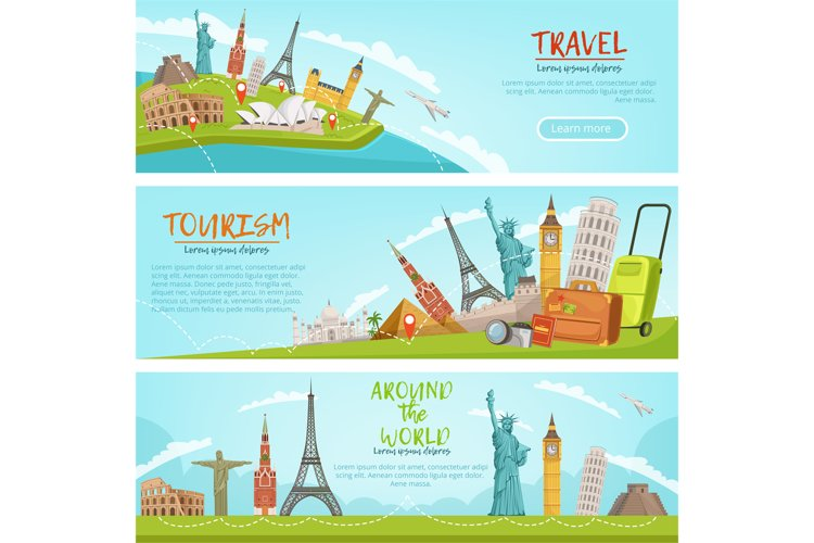 Vector design of three horizontal banners of travel illustra example image 1