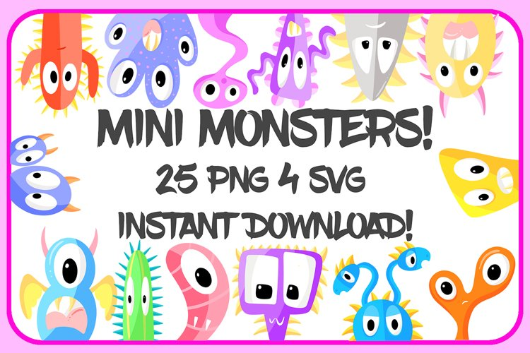 25 PNG 4 SVG Files Of Imaginary Cartoon Monster Aliens! example image 1
