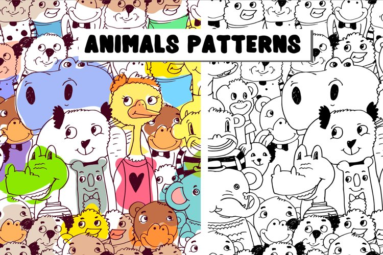 Animals patterns EPS, PNG, JPEG.