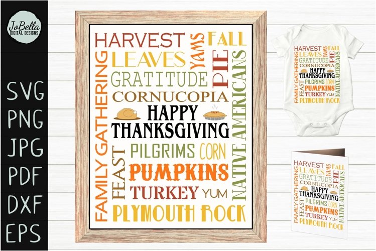 Subway Art Happy Thanksgiving SVG, Sublimation PNG & Print