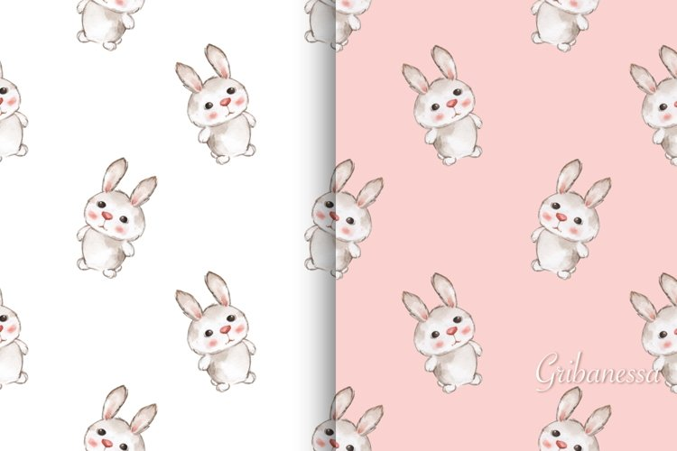 Cute rabbits. 2 cute seamless patterns with baby animals example image 1
