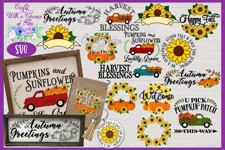 Fall SVG Bundle | Pumpkin & Sunflower SVG Designs | Autumn example image 1