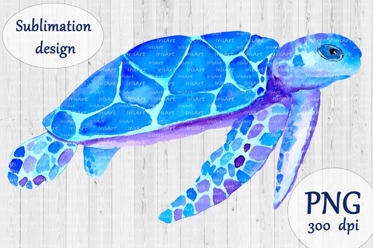Turtle sublimation design PNG - Watercolor sea animal print example image 1