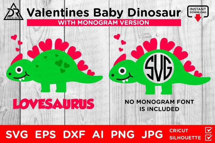 Valentines Baby Dinosaur SVG example image 1