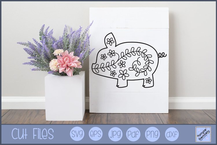 Flower Pig SVG | Pig SVG | Pig SVG Cut File
