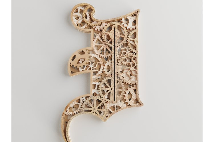 Layered Letter I - 5 layers - SteamPunk Alphabet - laser cut example image 1