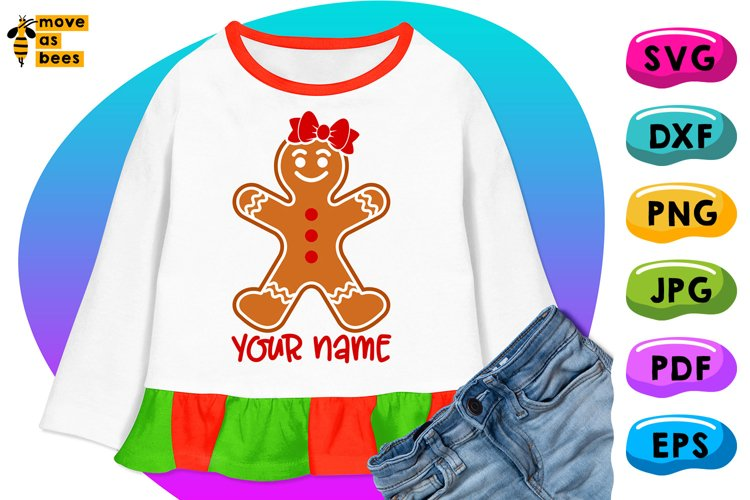 Gingerbread Man Svg, Girl Christmas Shirt Svg, Mom, Female example image 1