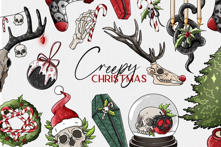 Gothic Christmas clipart, alternative dark christmas clipart