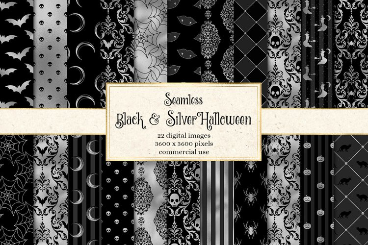 Black and Silver Halloween Digital Paper