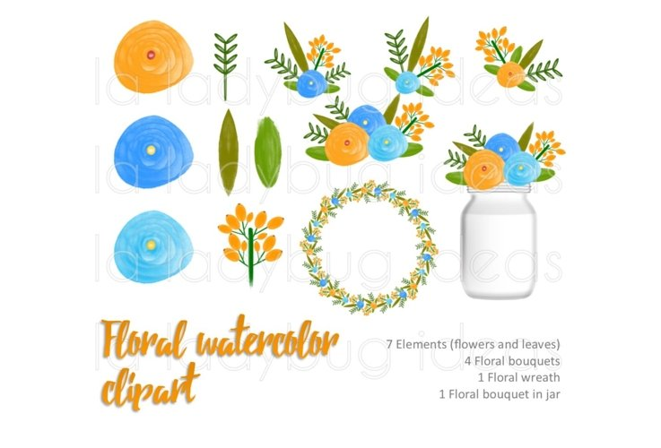 Orange and blue floral watercolor clip art collection.  example image 1