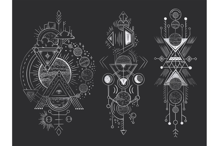 Abstract magical tattoo. Sacred geometric moon, mystic revel example image 1