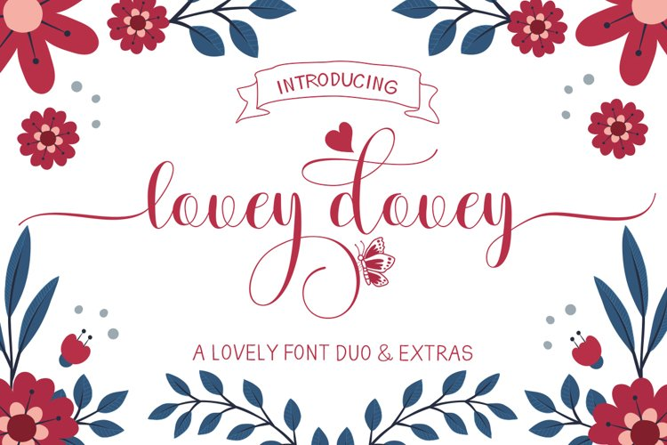 Lovey dovey Font Duo Plus Extras example image 1
