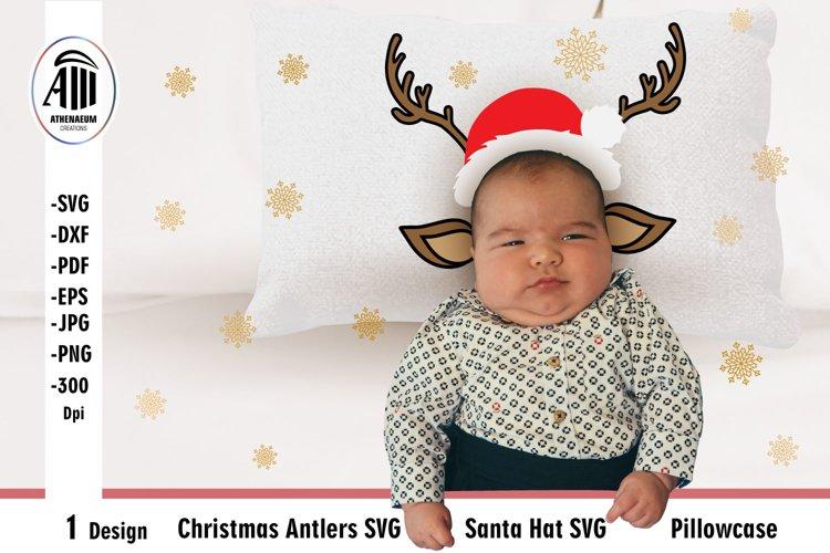 Christmas Antlers SVG  Santa Hat SVG  Pillowcase SVG example image 1