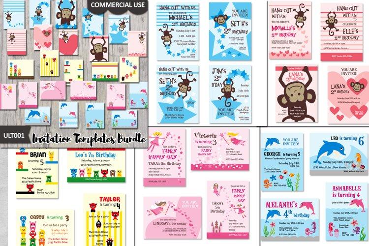 Templates Bundle, kids birthday party invites cards