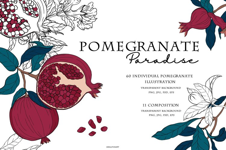 Clip Art Pomegranate Paradise example image 1