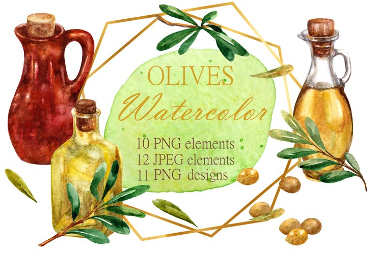 Watercolor olive branches clipart. Seamless patterns.