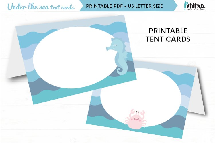 Under the sea party food tent cards, birthday party decor