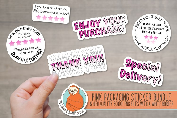 Pink Ombre Packaging Stickers - Leave A Review - Thank You