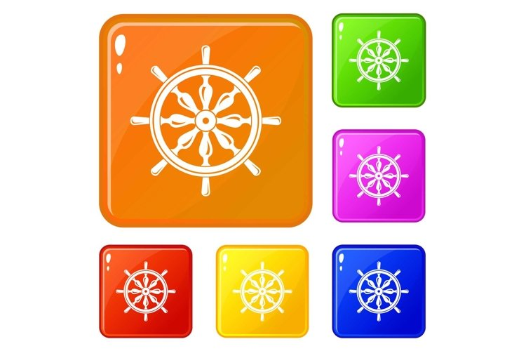 Steering wheel icons set vector color example image 1