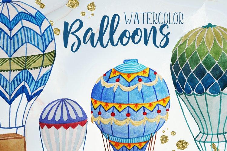 Watercolor hot air balloons example image 1