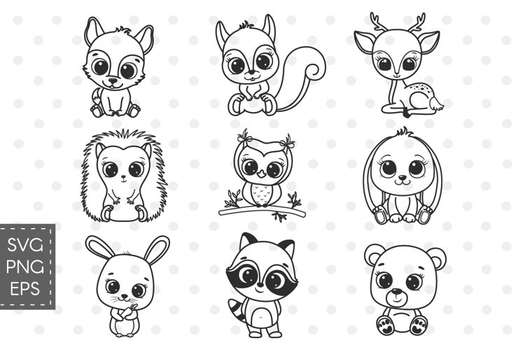 Woodland animals SVG, baby animals SVG, cute bear clipart.