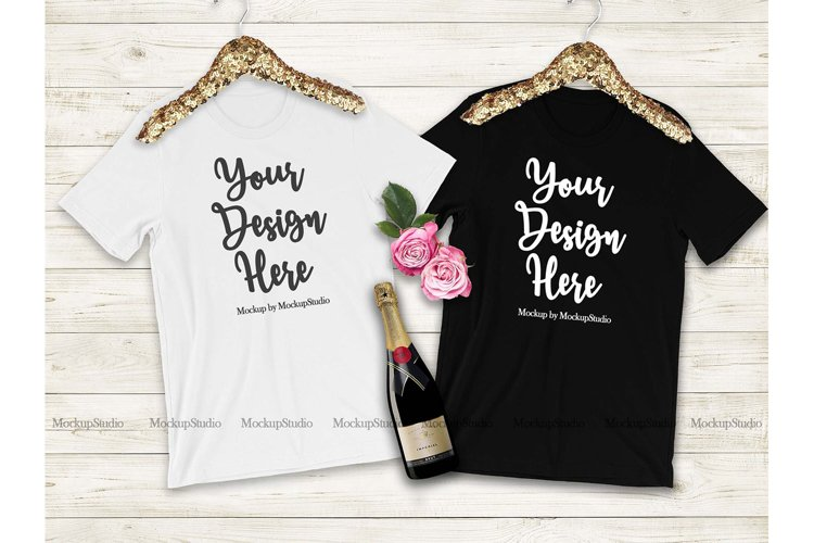 Black White Bridesmaid T-Shirts Mockup, Bridal Shirt Mock Up example image 1
