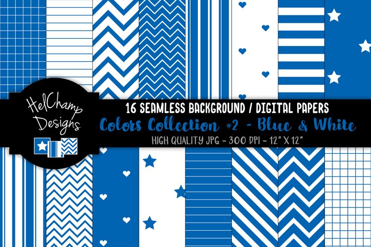 16 seamless Digital Papers - Blue and White - HC129