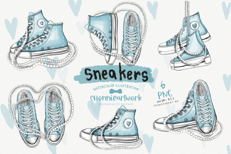 Watercolor Sneakers and Pearls Clipart Bundle, Blue Sneakers example image 1