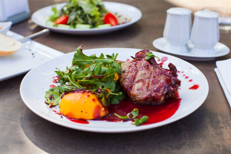 Grilled meat steak with cranberry sauce example image 1
