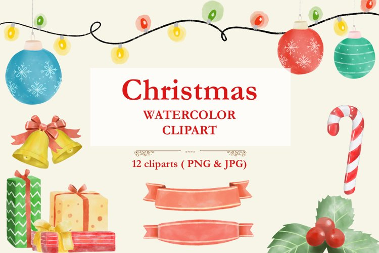 Christmas elements | watercolor illustrations| clipart example image 1