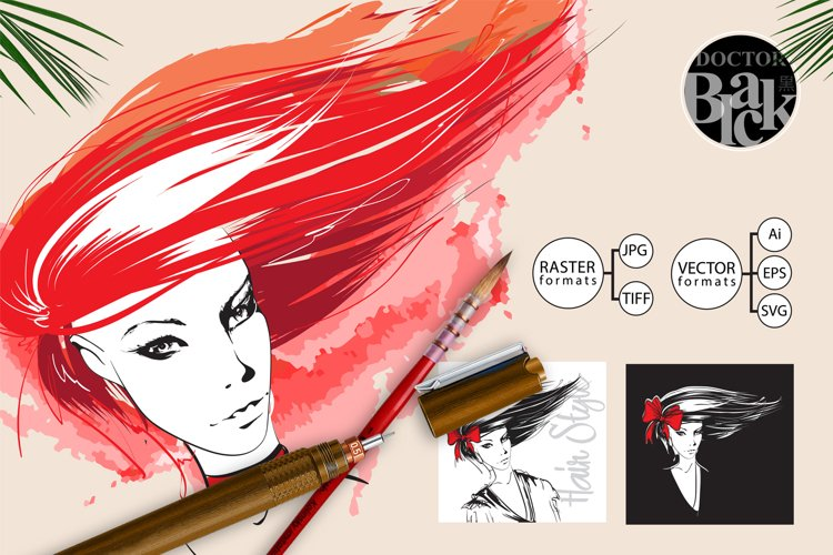 Womans face of a girl with flying red and black hair