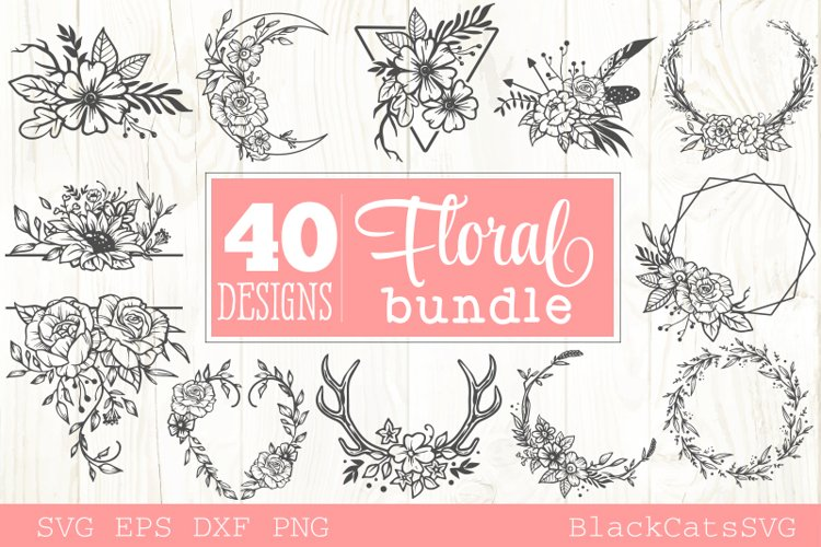 Floral frames SVG bundle 40 designs